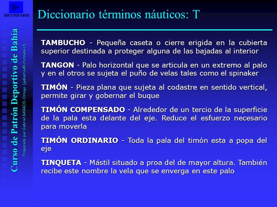 Curso de Patrón Deportivo de Bahía Preparado por Gabriel BARROS Orrego (gabarros@ctcreuna.cl) TAMBUCHO - Pequeña caseta o cierre erigida en la cubiert