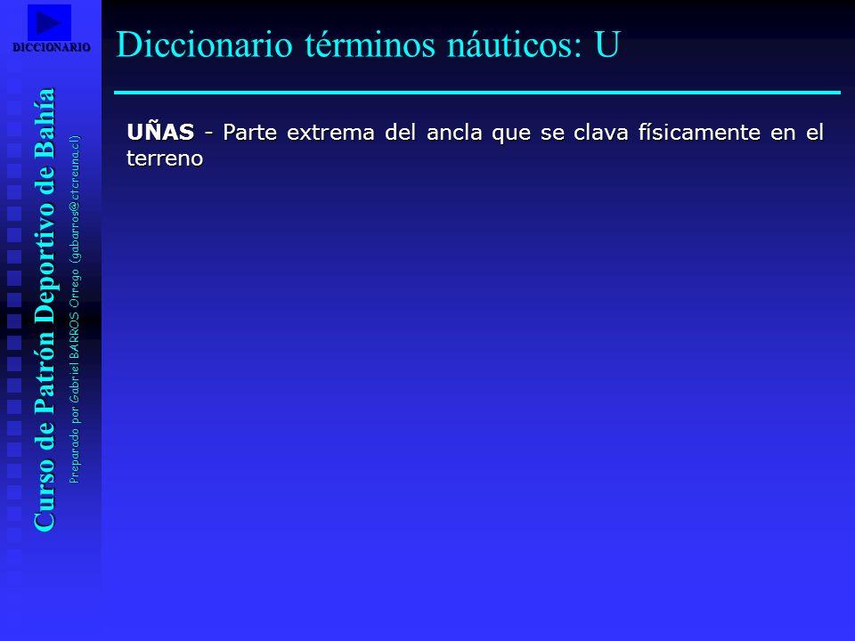 Curso de Patrón Deportivo de Bahía Preparado por Gabriel BARROS Orrego (gabarros@ctcreuna.cl) UÑAS - Parte extrema del ancla que se clava físicamente