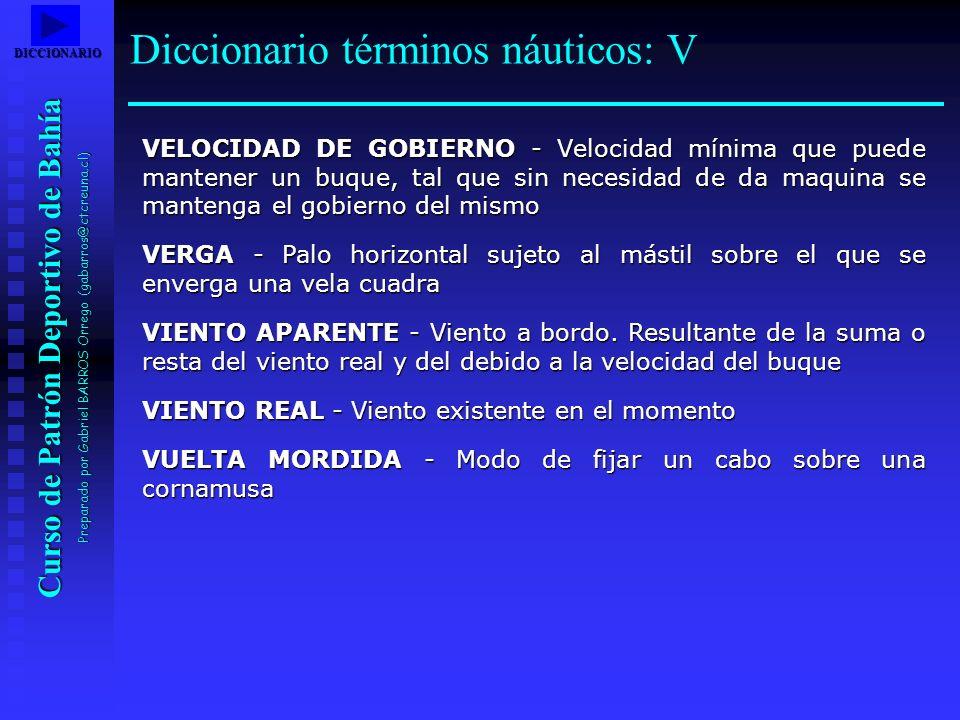 Curso de Patrón Deportivo de Bahía Preparado por Gabriel BARROS Orrego (gabarros@ctcreuna.cl) VELOCIDAD DE GOBIERNO - Velocidad mínima que puede mante