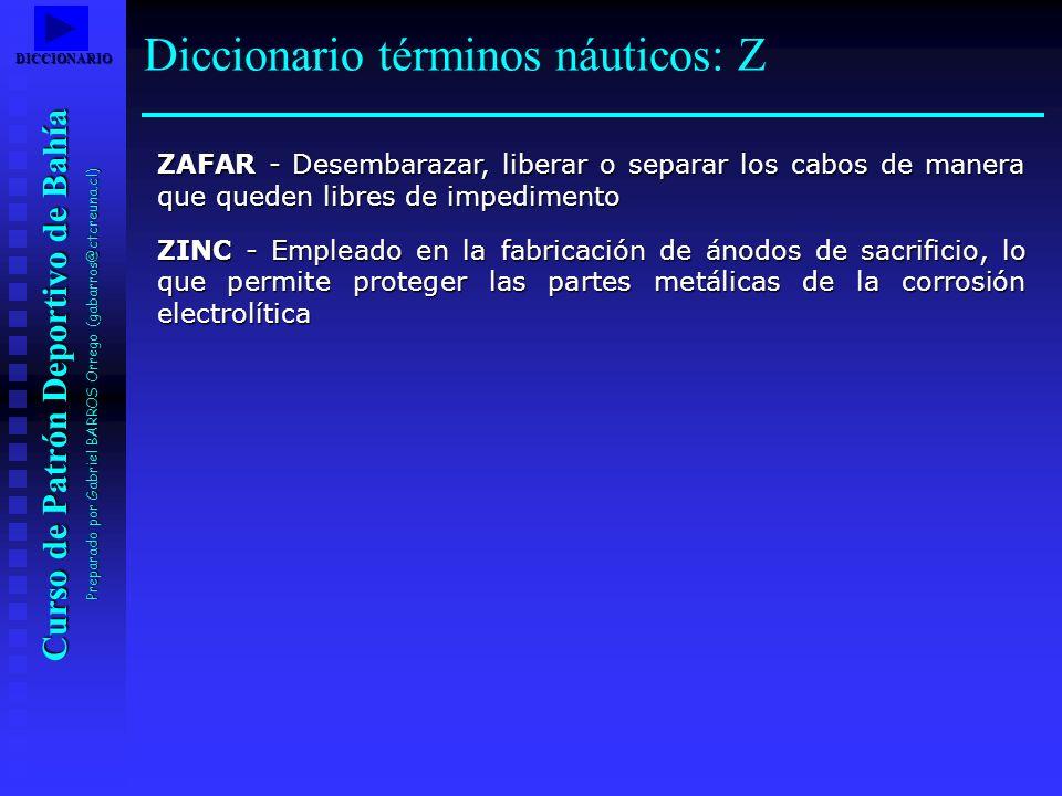 Curso de Patrón Deportivo de Bahía Preparado por Gabriel BARROS Orrego (gabarros@ctcreuna.cl) ZAFAR - Desembarazar, liberar o separar los cabos de man