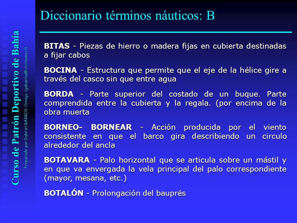 Curso de Patrón Deportivo de Bahía Preparado por Gabriel BARROS Orrego (gabarros@ctcreuna.cl) BITAS - Piezas de hierro o madera fijas en cubierta dest