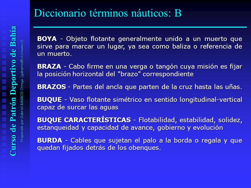 Curso de Patrón Deportivo de Bahía Preparado por Gabriel BARROS Orrego (gabarros@ctcreuna.cl) BOYA - Objeto flotante generalmente unido a un muerto qu