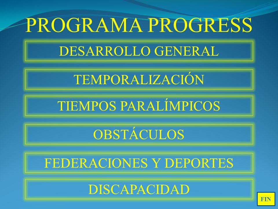 PROGRAMA PROGRESS DESARROLLO GENERAL TEMPORALIZACIÓN TIEMPOS PARALÍMPICOS OBSTÁCULOS FEDERACIONES Y DEPORTES DISCAPACIDAD FIN