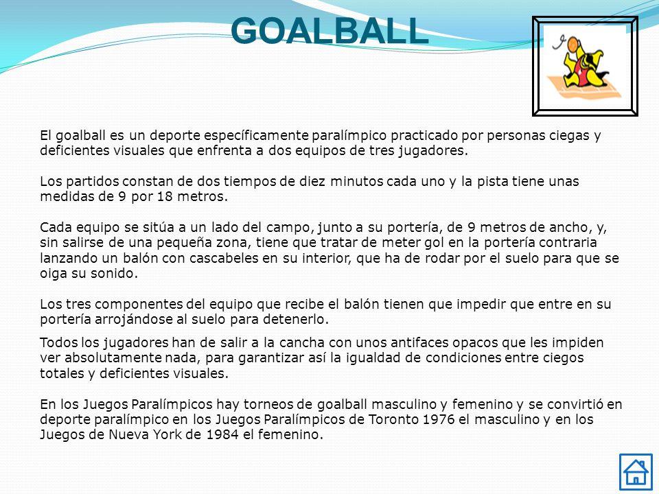 GOALBALL El goalball es un deporte específicamente paralímpico practicado por personas ciegas y deficientes visuales que enfrenta a dos equipos de tres jugadores.