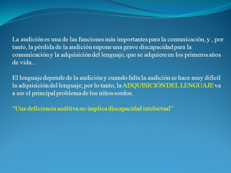 La audición es una de las funciones más importantes para la comunicación, y, por tanto, la pérdida de la audición supone una grave discapacidad para la comunicación y la adquisición del lenguaje, que se adquiere en los primeros años de vida..