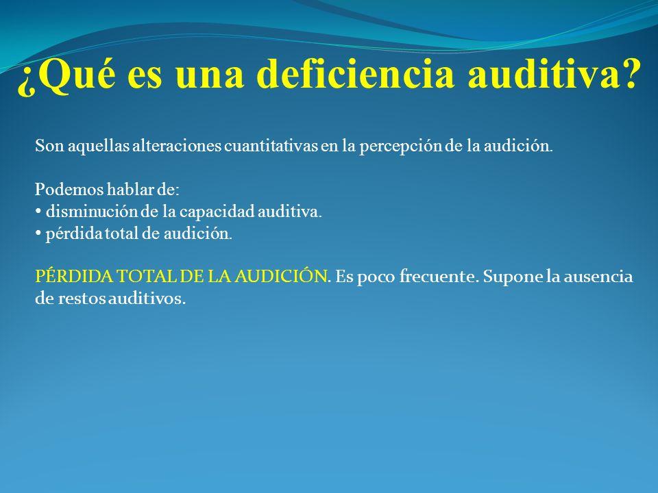 Son aquellas alteraciones cuantitativas en la percepción de la audición. Podemos hablar de: disminución de la capacidad auditiva. pérdida total de aud
