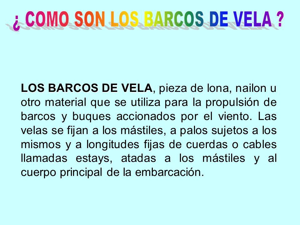 LOS BARCOS DE VELA, pieza de lona, nailon u otro material que se utiliza para la propulsión de barcos y buques accionados por el viento.