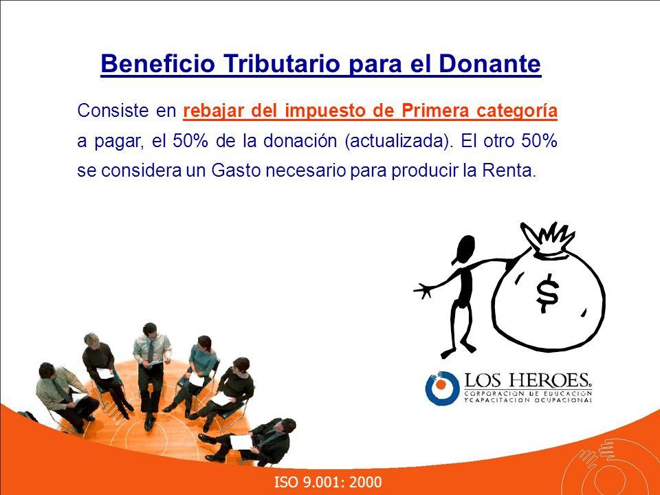 ISO 9.001: 2000 Consiste en rebajar del impuesto de Primera categoría a pagar, el 50% de la donación (actualizada).