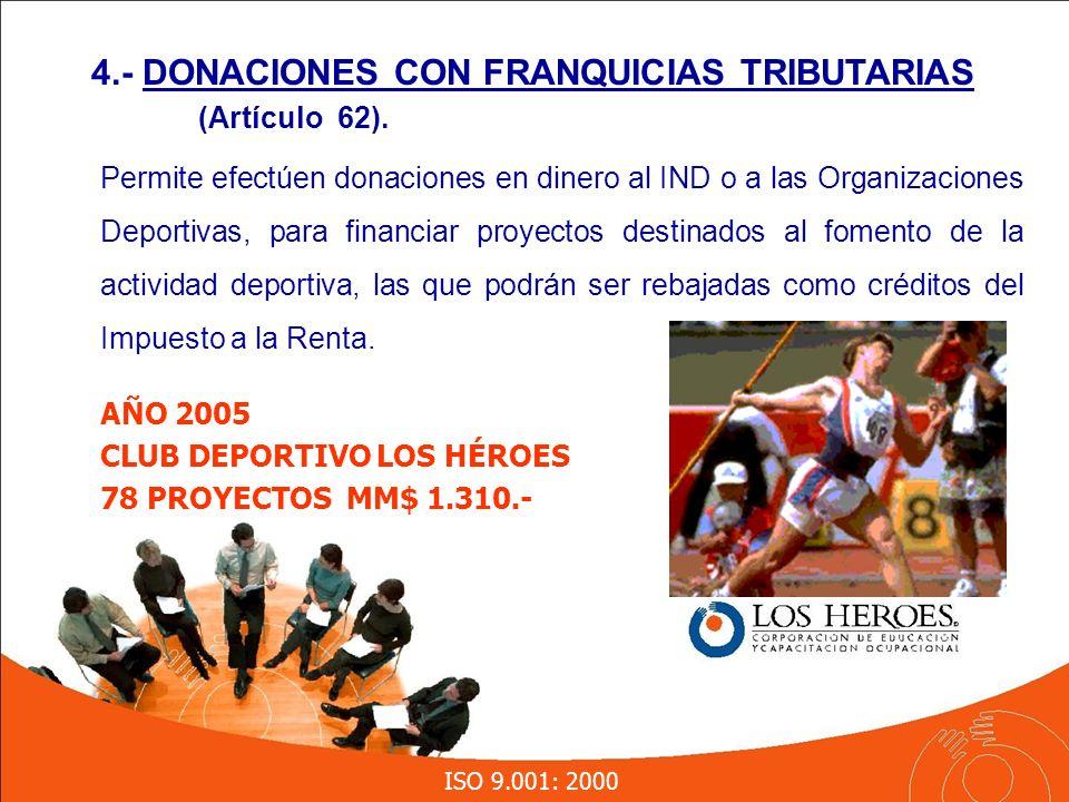 ISO 9.001: 2000 Permite efectúen donaciones en dinero al IND o a las Organizaciones Deportivas, para financiar proyectos destinados al fomento de la actividad deportiva, las que podrán ser rebajadas como créditos del Impuesto a la Renta.