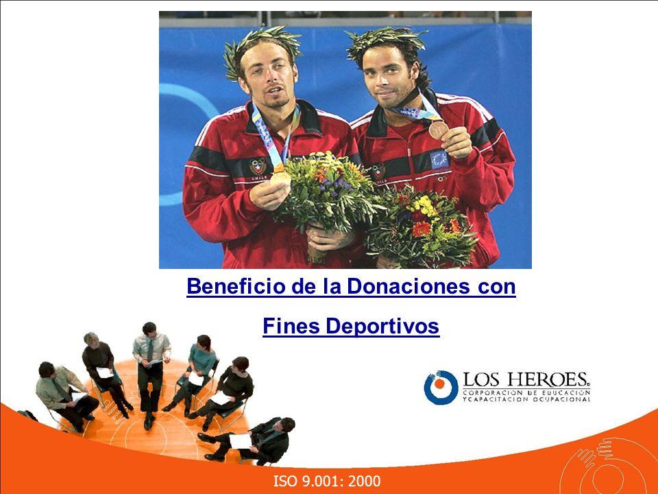 ISO 9.001: 2000 Beneficio de la Donaciones con Fines Deportivos