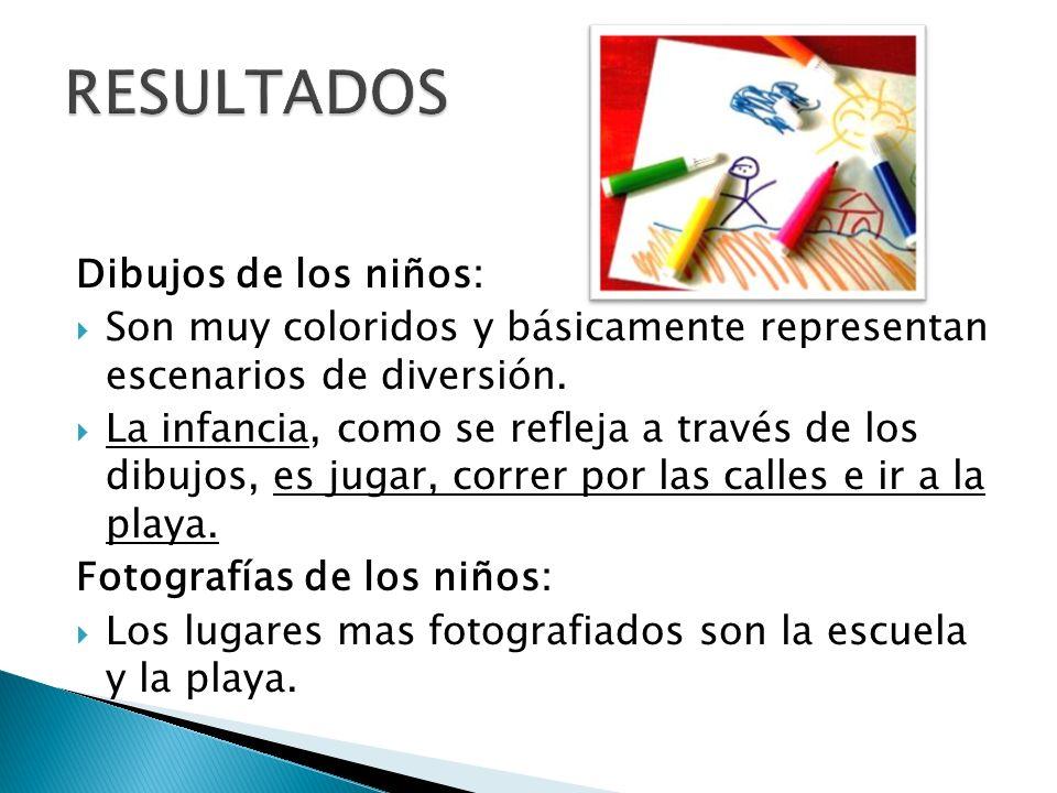 Dibujos de los niños: Son muy coloridos y básicamente representan escenarios de diversión. La infancia, como se refleja a través de los dibujos, es ju