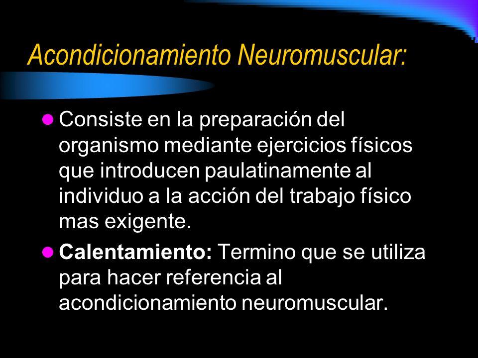 Acondicionamiento Neuromuscular: Consiste en la preparación del organismo mediante ejercicios físicos que introducen paulatinamente al individuo a la acción del trabajo físico mas exigente.