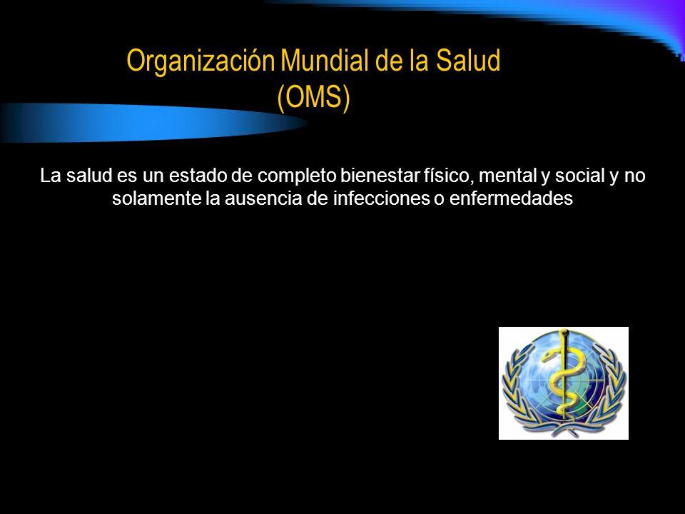 Organización Mundial de la Salud (OMS) La salud es un estado de completo bienestar físico, mental y social y no solamente la ausencia de infecciones o enfermedades