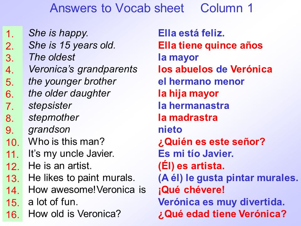 Answers to Vocab sheet Column 1 She is happy.She is 15 years old.