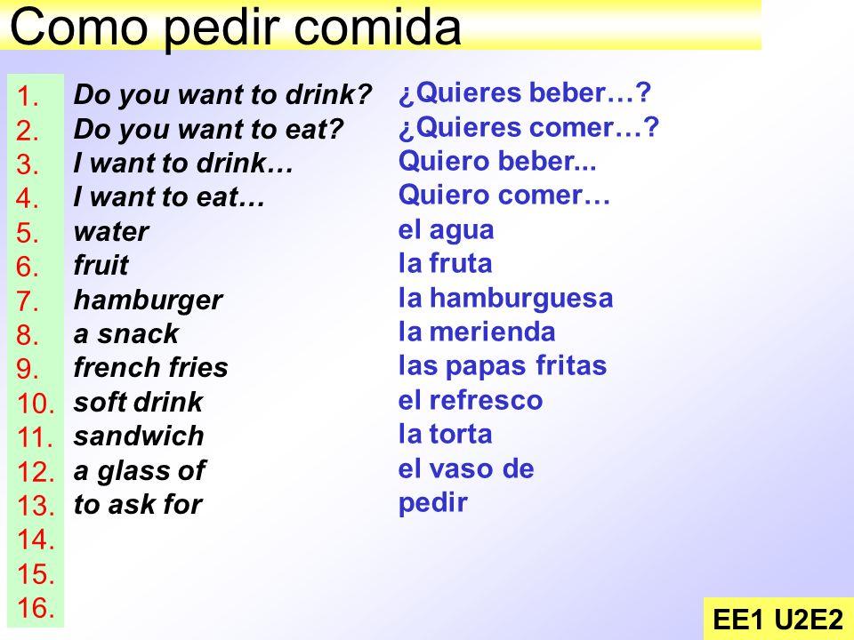 Como pedir comida EE1 U2E2 Do you want to drink? Do you want to eat? I want to drink… I want to eat… water fruit hamburger a snack french fries soft d