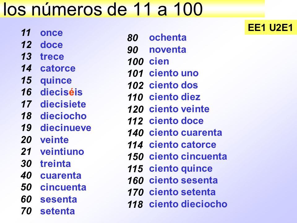 los números de 11 a 100 EE1 U2E1 11 12 13 14 15 16 17 18 19 20 21 30 40 50 60 70 once doce trece catorce quince dieciséis diecisiete dieciocho diecinu