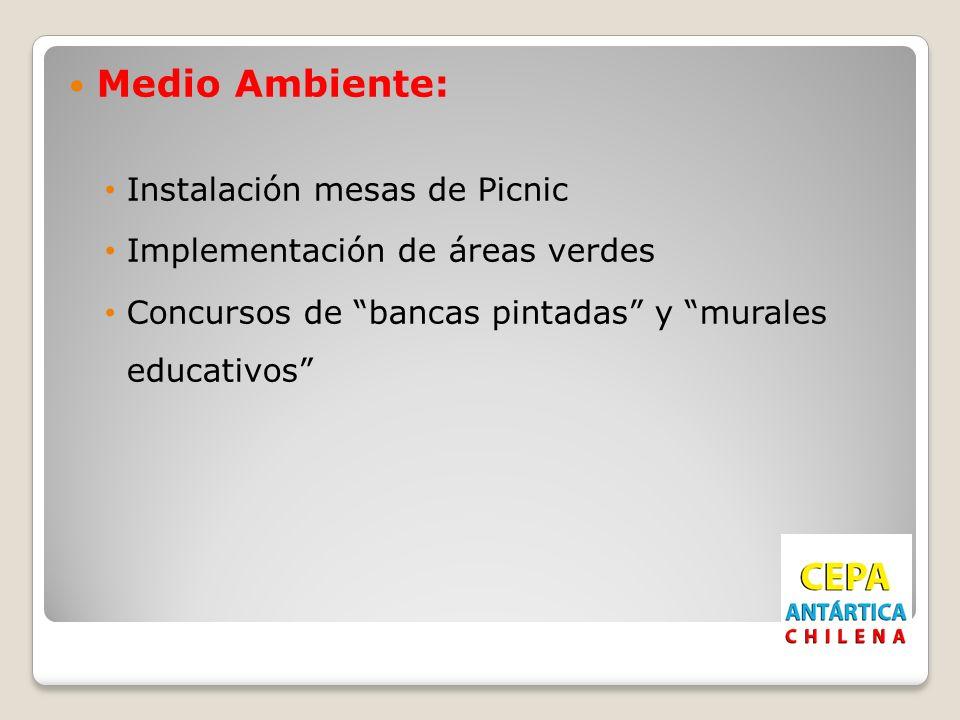 Medio Ambiente: Instalación mesas de Picnic Implementación de áreas verdes Concursos de bancas pintadas y murales educativos