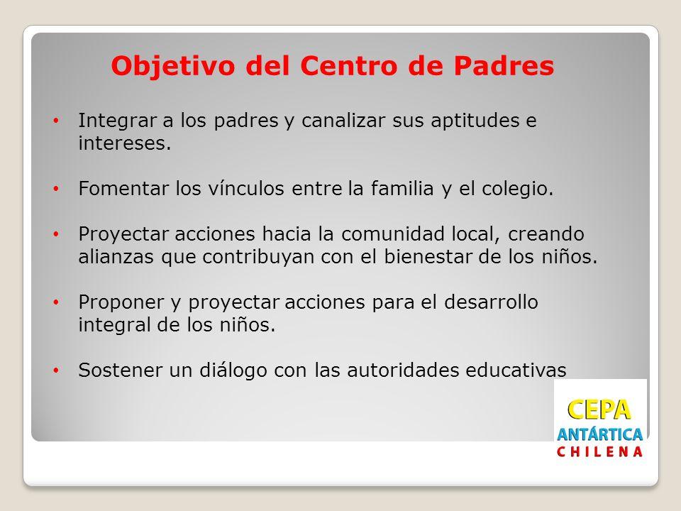 Objetivo del Centro de Padres Integrar a los padres y canalizar sus aptitudes e intereses. Fomentar los vínculos entre la familia y el colegio. Proyec