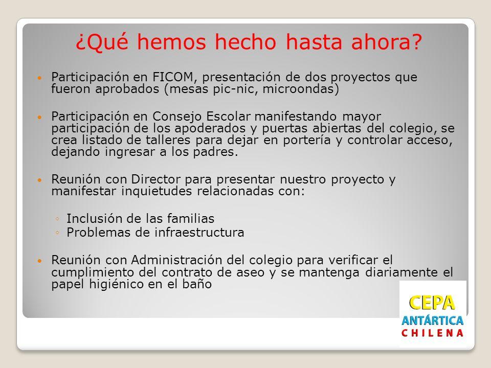 ¿Qué hemos hecho hasta ahora? Participación en FICOM, presentación de dos proyectos que fueron aprobados (mesas pic-nic, microondas) Participación en