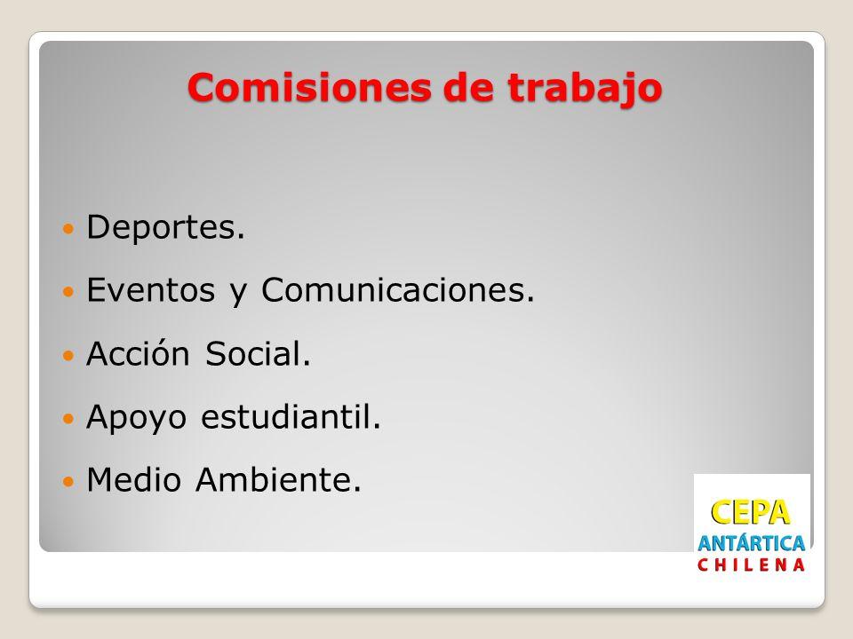 Comisiones de trabajo Deportes. Eventos y Comunicaciones. Acción Social. Apoyo estudiantil. Medio Ambiente.