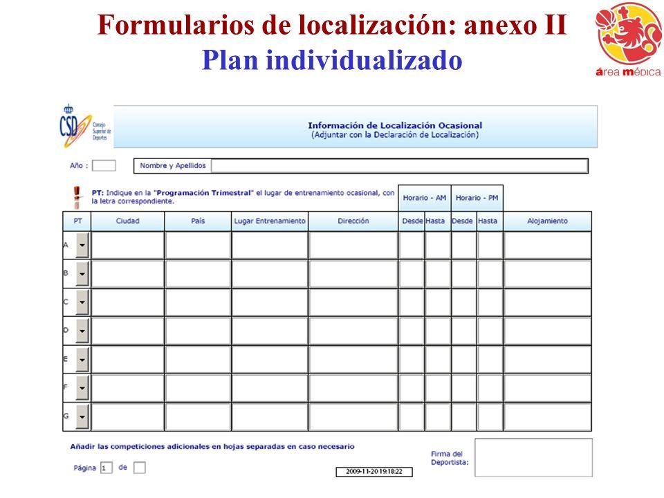Formularios de localización: anexo II Plan individualizado