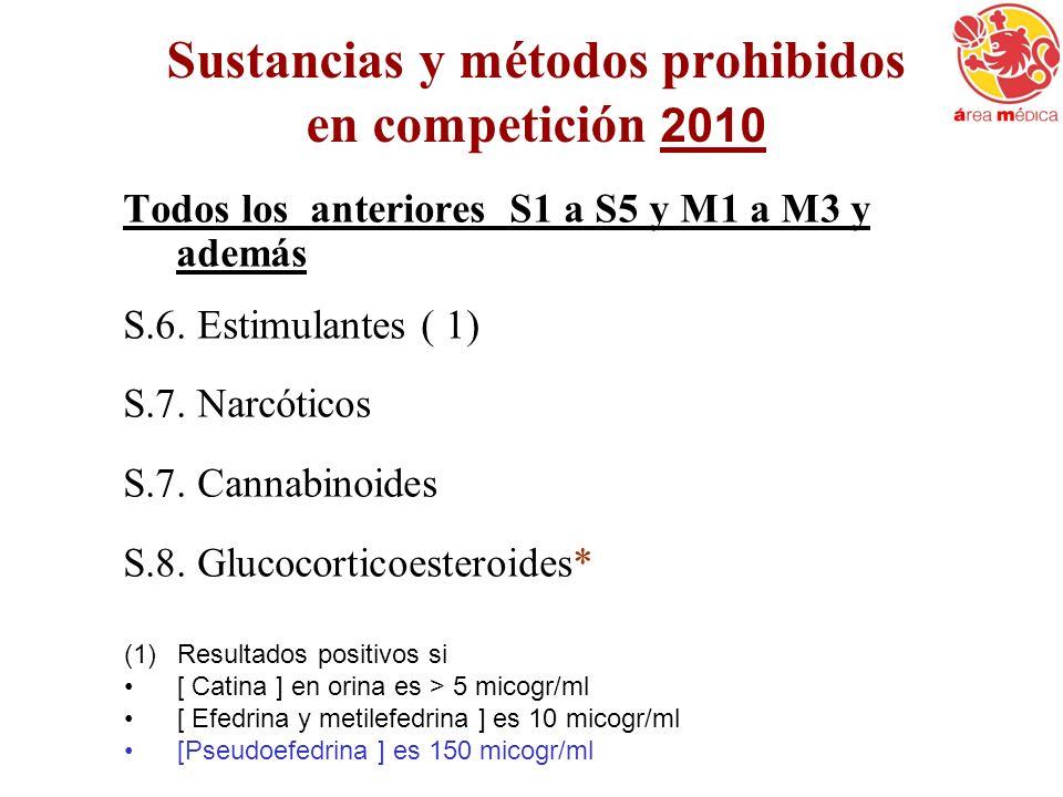 Sustancias y métodos prohibidos en competición 2010 Todos los anteriores S1 a S5 y M1 a M3 y además S.6. Estimulantes ( 1) S.7. Narcóticos S.7. Cannab