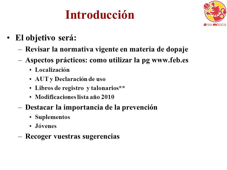 Introducción El objetivo será: –Revisar la normativa vigente en materia de dopaje –Aspectos prácticos: como utilizar la pg www.feb.es Localización AUT