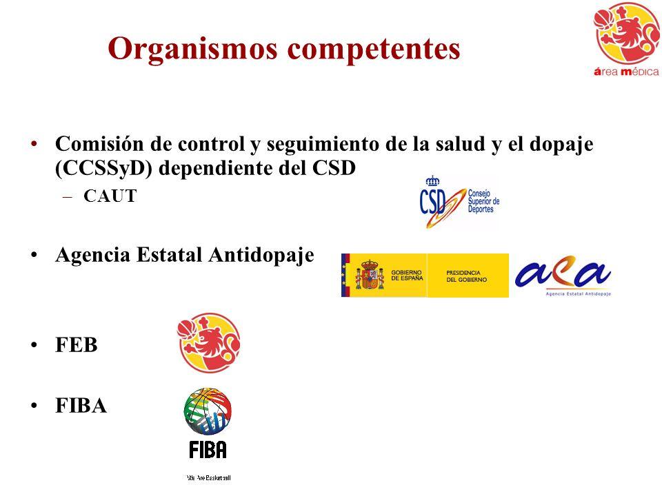 Organismos competentes Comisión de control y seguimiento de la salud y el dopaje (CCSSyD) dependiente del CSD –CAUT Agencia Estatal Antidopaje FEB FIB