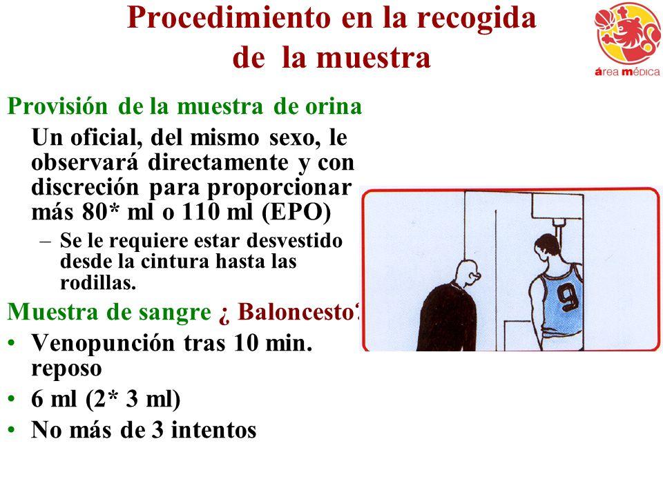 Procedimiento en la recogida de la muestra Provisión de la muestra de orina Un oficial, del mismo sexo, le observará directamente y con discreción par