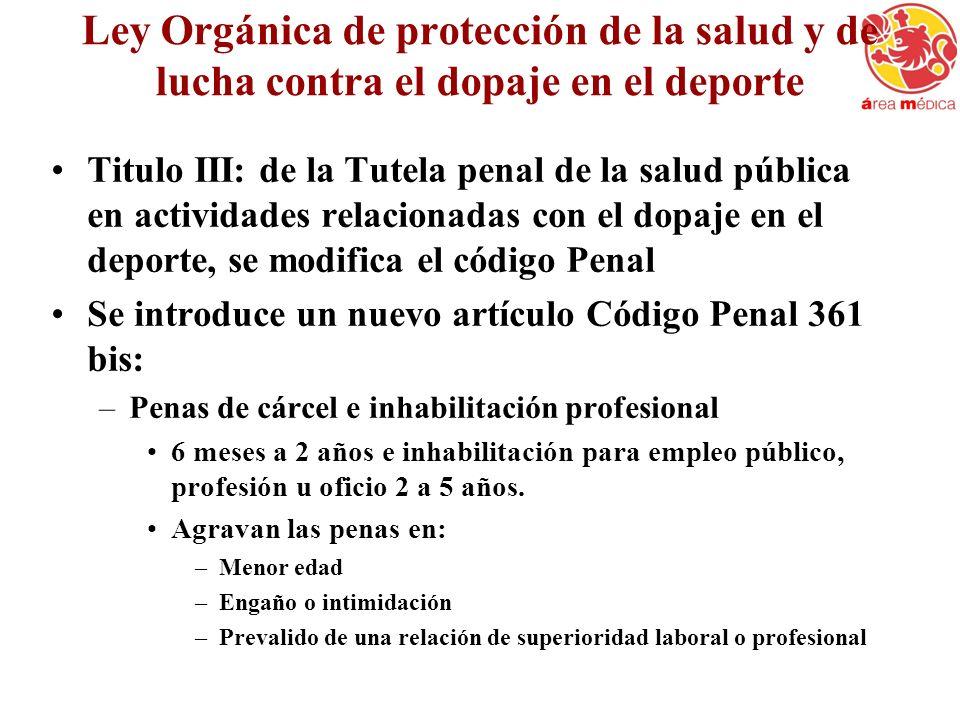 Ley Orgánica de protección de la salud y de lucha contra el dopaje en el deporte Titulo III: de la Tutela penal de la salud pública en actividades rel