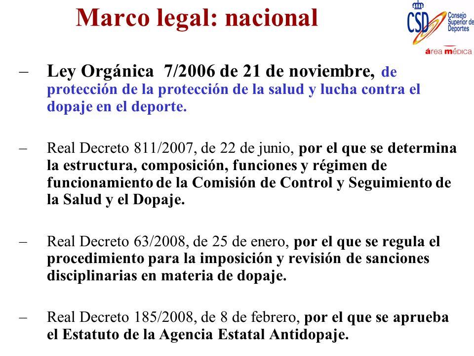 Marco legal: nacional Real Decreto 641/2009, de 17 de abril, por el que se regulan los procesos de control de dopaje y los laboratorios de análisis autorizados, y por el que se establecen medidas complementarias de prevención del dopaje y de protección de la salud en el deporte.