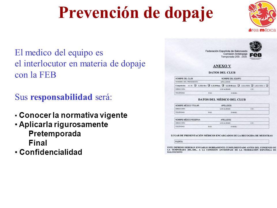 Prevención de dopaje El medico del equipo es el interlocutor en materia de dopaje con la FEB Sus responsabilidad será: Conocer la normativa vigente Ap
