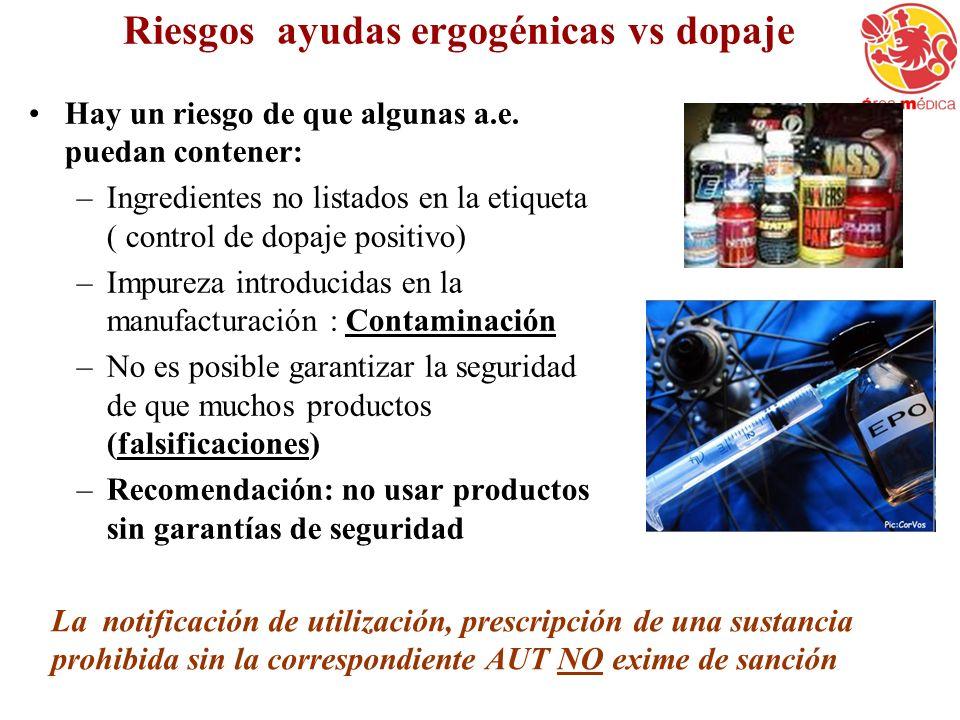 Riesgos ayudas ergogénicas vs dopaje Hay un riesgo de que algunas a.e. puedan contener: –Ingredientes no listados en la etiqueta ( control de dopaje p