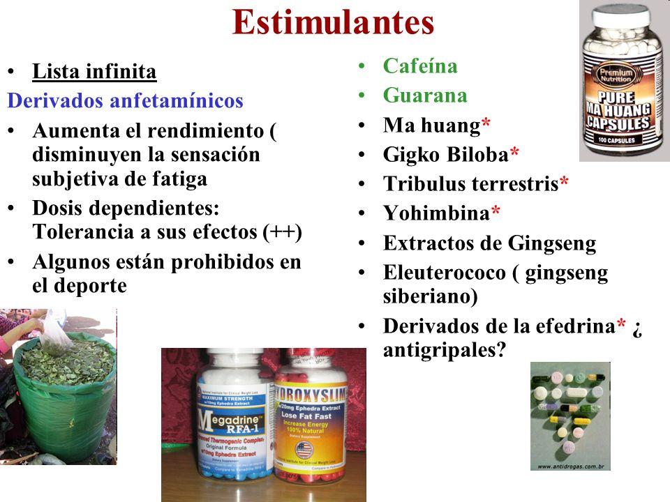 Estimulantes Lista infinita Derivados anfetamínicos Aumenta el rendimiento ( disminuyen la sensación subjetiva de fatiga Dosis dependientes: Toleranci
