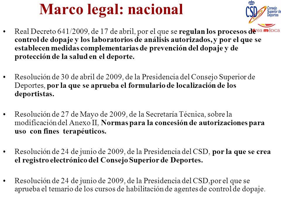 Marco legal: nacional Real Decreto 641/2009, de 17 de abril, por el que se regulan los procesos de control de dopaje y los laboratorios de análisis au