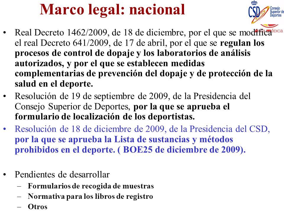 Marco legal: nacional Real Decreto 1462/2009, de 18 de diciembre, por el que se modifica el real Decreto 641/2009, de 17 de abril, por el que se regul