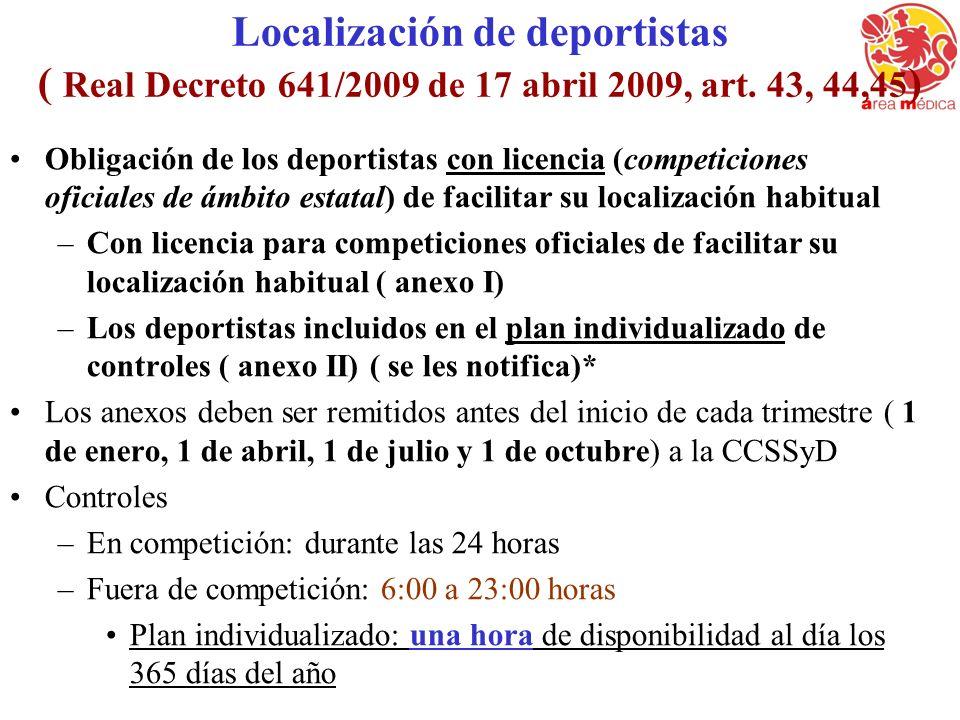 Localización de deportistas ( Real Decreto 641/2009 de 17 abril 2009, art. 43, 44,45 ) Obligación de los deportistas con licencia (competiciones ofici