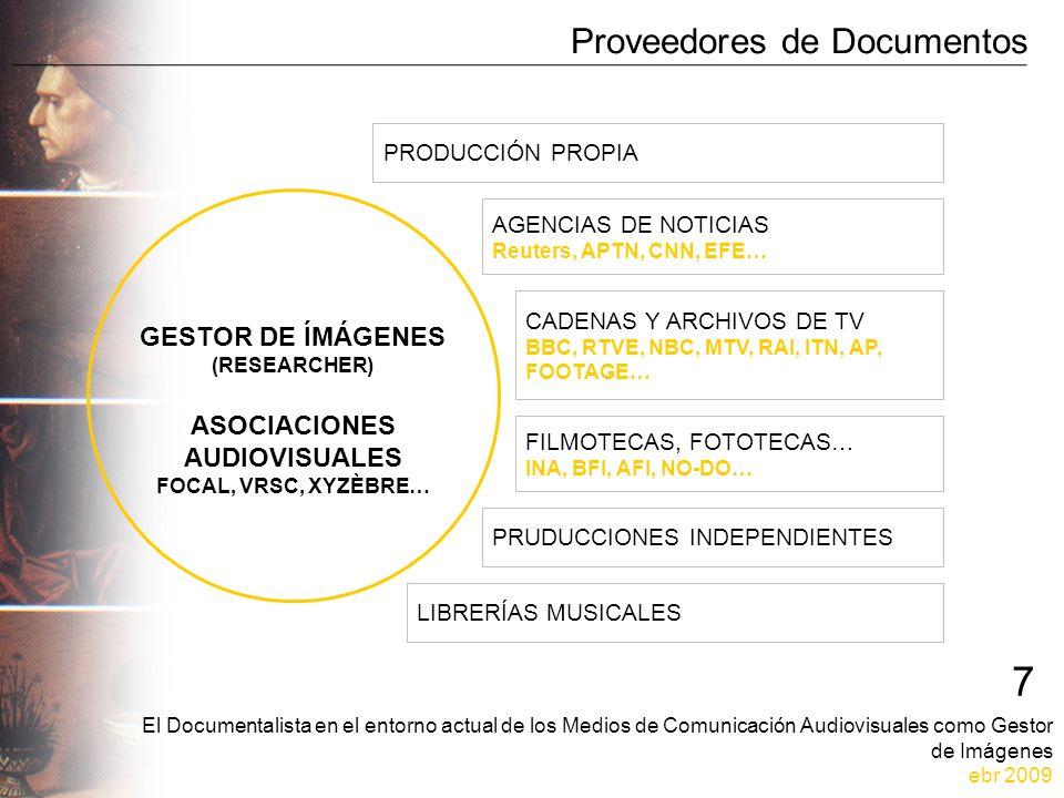 El Documentalista en el entorno actual de los Medios de Comunicación Audiovisuales como Gestor de Imágenes ebr 2009 7 Proveedores de Documentos GESTOR DE ÍMÁGENES (RESEARCHER) ASOCIACIONES AUDIOVISUALES FOCAL, VRSC, XYZÈBRE… PRODUCCIÓN PROPIA AGENCIAS DE NOTICIAS Reuters, APTN, CNN, EFE… CADENAS Y ARCHIVOS DE TV BBC, RTVE, NBC, MTV, RAI, ITN, AP, FOOTAGE… FILMOTECAS, FOTOTECAS… INA, BFI, AFI, NO-DO… PRUDUCCIONES INDEPENDIENTES LIBRERÍAS MUSICALES