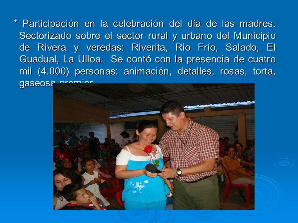 * Participación en la celebración del día de las madres.