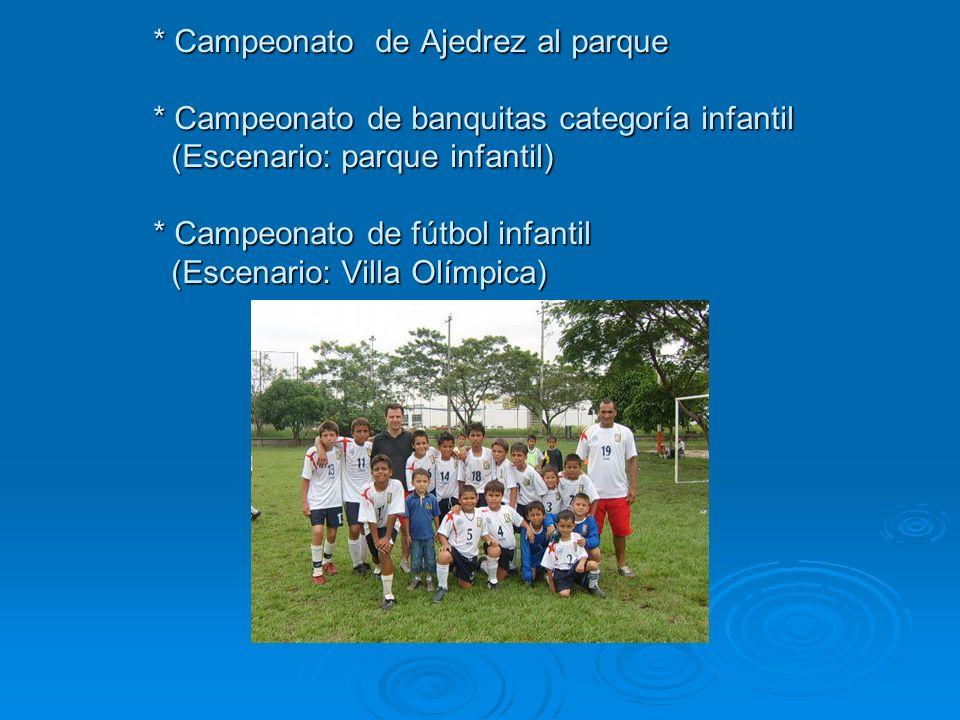 * Campeonato de Ajedrez al parque * Campeonato de banquitas categoría infantil (Escenario: parque infantil) * Campeonato de fútbol infantil (Escenario: Villa Olímpica)
