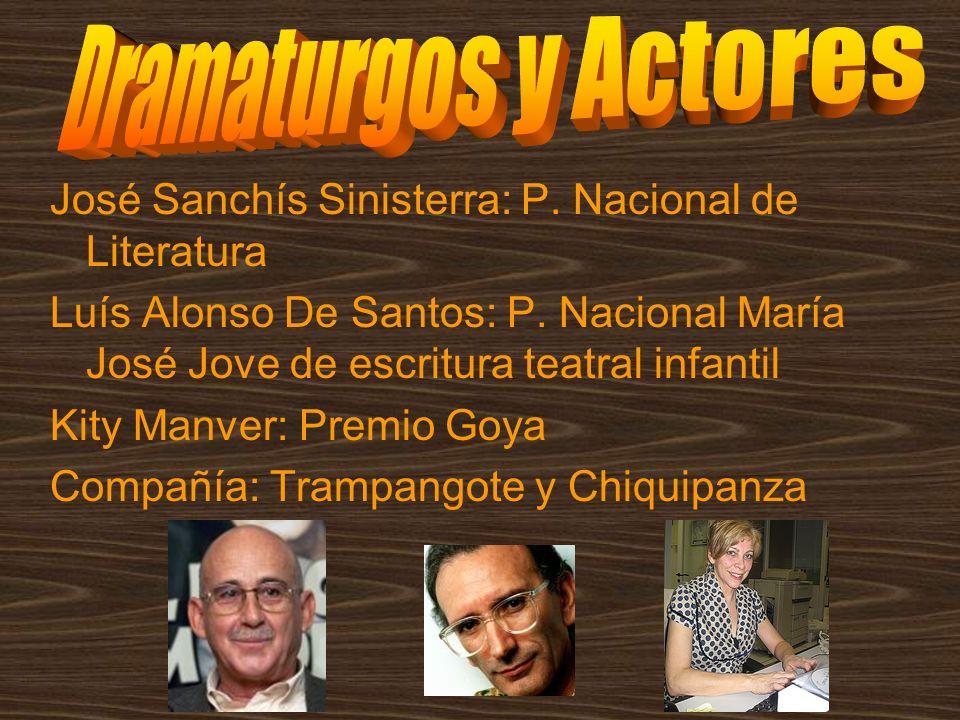 José Sanchís Sinisterra: P. Nacional de Literatura Luís Alonso De Santos: P. Nacional María José Jove de escritura teatral infantil Kity Manver: Premi