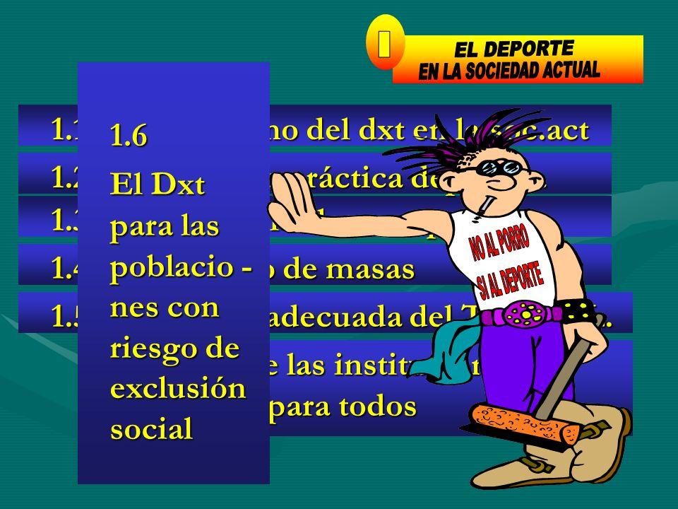 - Interés de las instituciones por el deporte para todos - Interés de las instituciones por el deporte para todos 1.1 Protagonismo del dxt en la soc.a