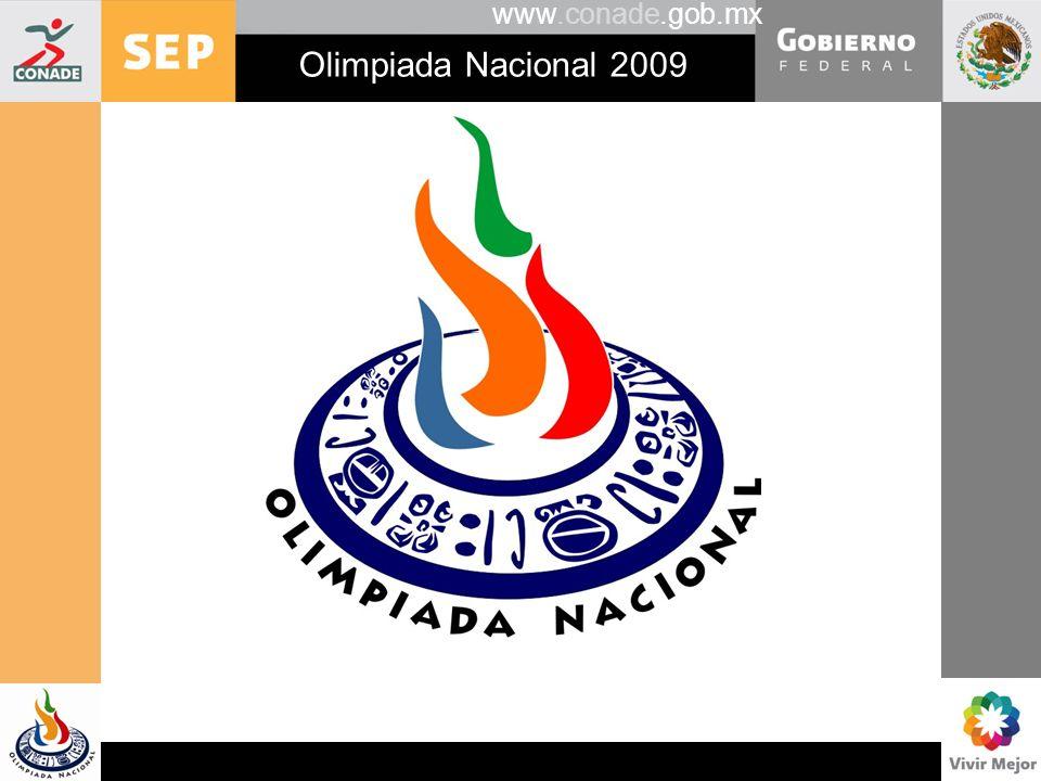 www.conade.gob.mx Olimpiada Nacional 2009 Premios en disputa Reconocimiento a la entidad con mejores resultados en los deporte de conjunto.