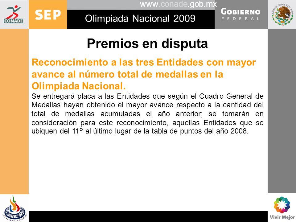 www.conade.gob.mx Olimpiada Nacional 2009 Premios en disputa Reconocimiento a las tres Entidades con mayor avance al número total de medallas en la Ol