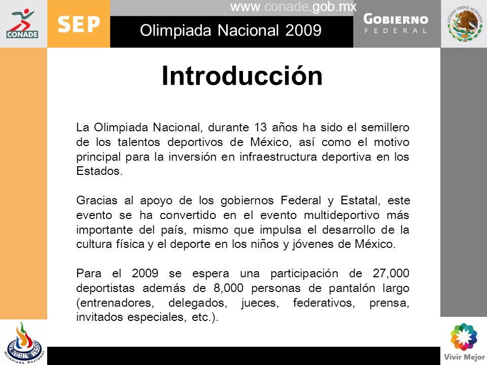 www.conade.gob.mx Olimpiada Nacional 2009 Introducción Como resultado de la 64° Jornada Informativa IME- CONADE: Deportes que se llevó a cabo el pasado mes de octubre, la Comisión Nacional de Cultura Física y Deporte (CONADE), nombró a los Mexicanos en el Exterior como entidad deportiva para la Olimpiada Nacional 2009.
