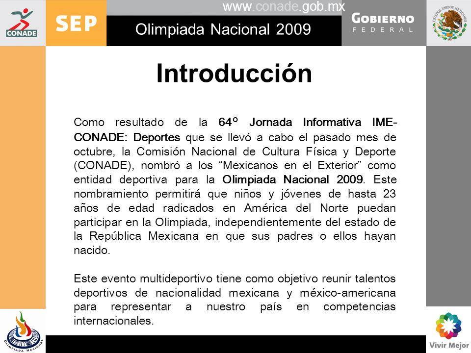 www.conade.gob.mx Olimpiada Nacional 2009 Introducción Como resultado de la 64° Jornada Informativa IME- CONADE: Deportes que se llevó a cabo el pasad