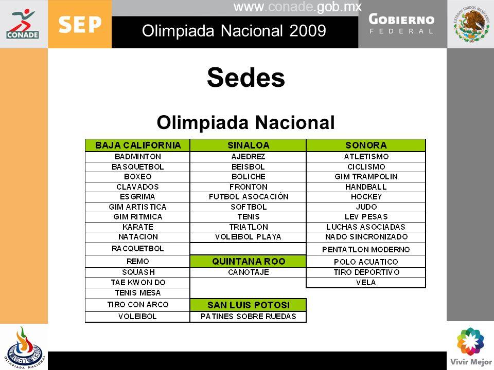 www.conade.gob.mx Olimpiada Nacional 2009 Premios en disputa Trofeo Presidente de México.