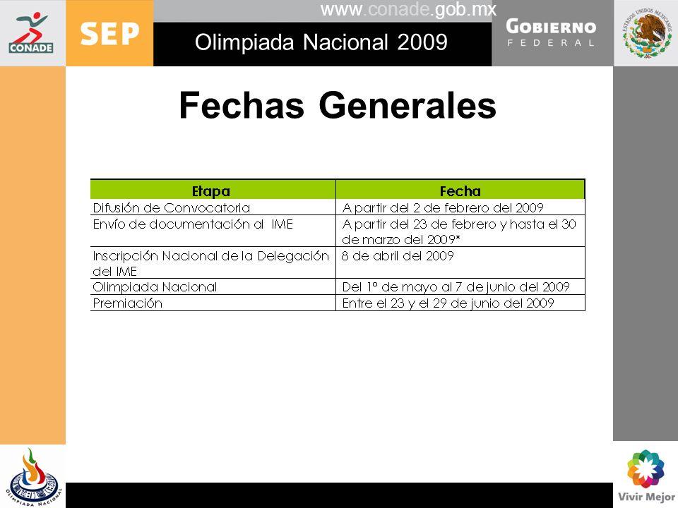 www.conade.gob.mx Olimpiada Nacional 2009 Servicios en la etapa Nacional Los gastos relativos al traslado interno, el hospedaje y la alimentación de los participantes que representen a las comunidades mexicanas en el exterior, serán sufragados por el comité organizador.