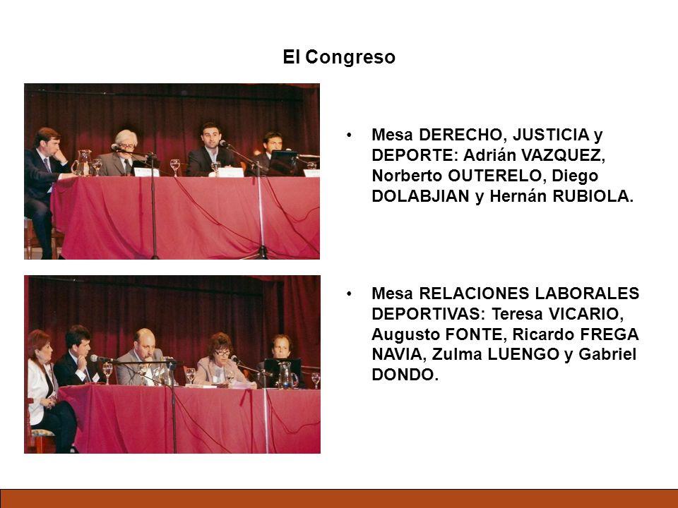 El Congreso Mesa DERECHO, JUSTICIA y DEPORTE: Adrián VAZQUEZ, Norberto OUTERELO, Diego DOLABJIAN y Hernán RUBIOLA. Mesa RELACIONES LABORALES DEPORTIVA