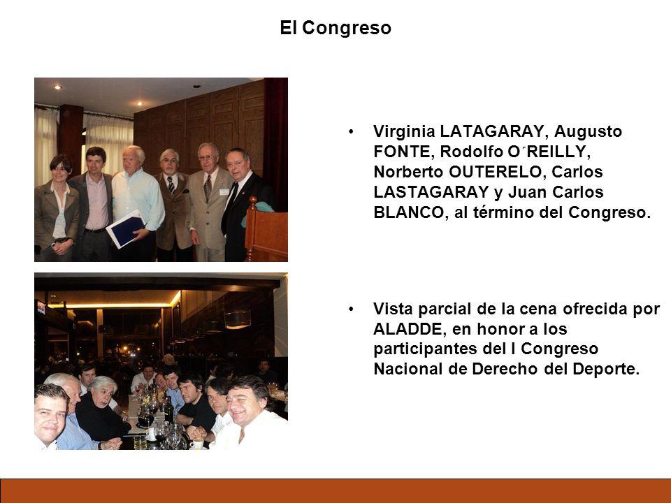 El Congreso Virginia LATAGARAY, Augusto FONTE, Rodolfo O´REILLY, Norberto OUTERELO, Carlos LASTAGARAY y Juan Carlos BLANCO, al término del Congreso. V